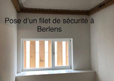 Pose d'un filet de sécurité à Berlens